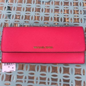 Michael Kors Flat Leather Wallet - Ultra Pink